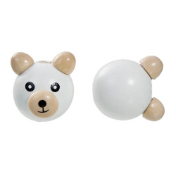 Perle 3D Ourson Blanc 25mm Tete Ours MC2025601